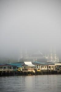Mosquée dans la brume